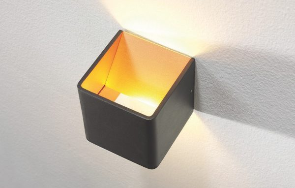Wandlamp Fulda zwart/goud